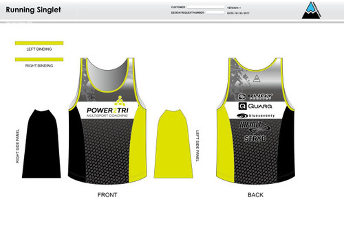 Power2Tri Yellow Running Tank