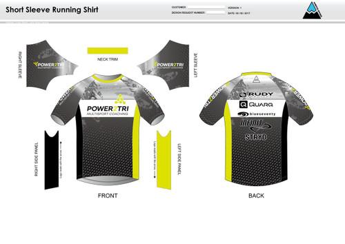 Power2Tri Yellow Short Sleeve Running Shirt