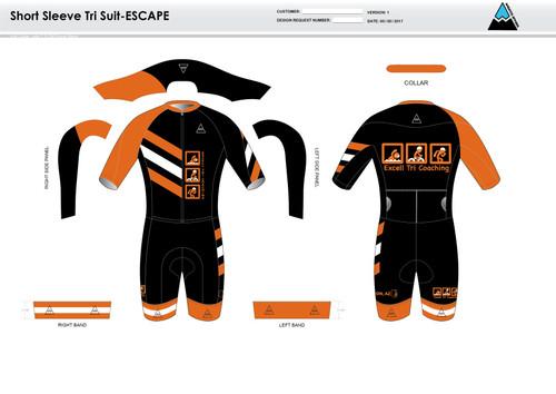 Excell Black ESCAPE Short Sleeve Tri Suit
