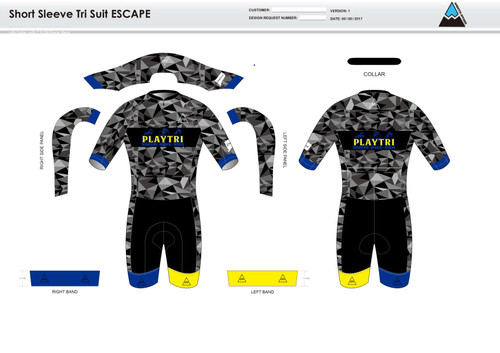 Playtri Norwalk ESCAPE Short Sleeve Tri Suit