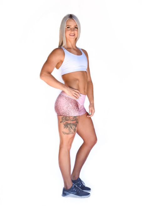 Pink Sparkle Women's Compression Fitness Shorts