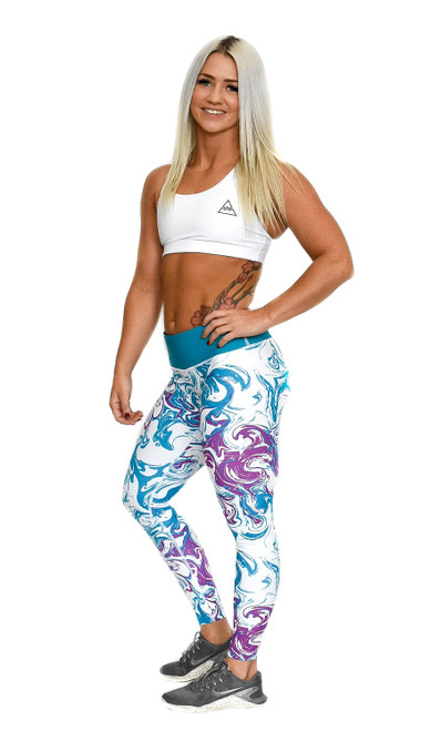 Teal Swirl Women's Full Length Fitness Tights