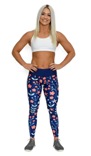 Coral Floral Women's Full Length Fitness Tights