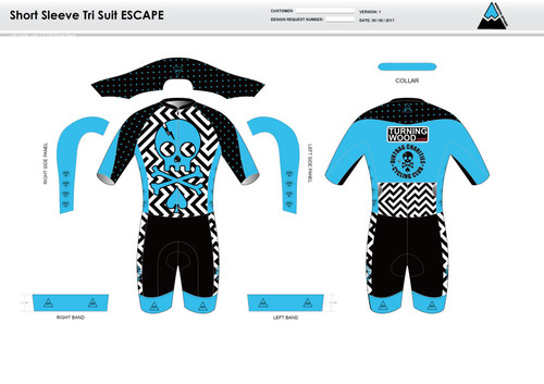 Dirtbag Blue ESCAPE Short Sleeve Tri Suit