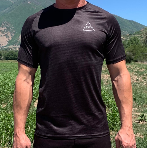 Men's Black Short Sleeve Running Shirt