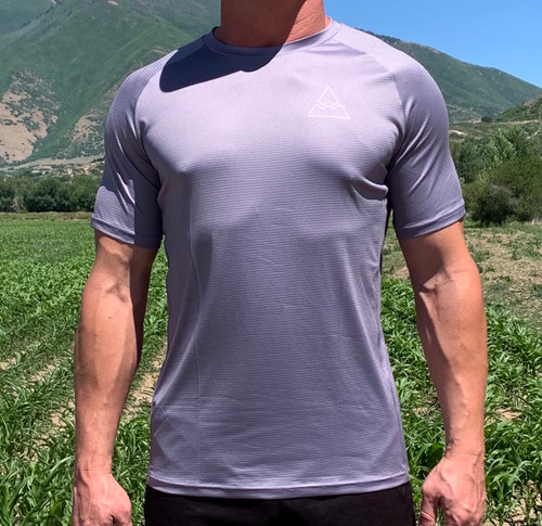 Men's Grey Short Sleeve Running Shirt