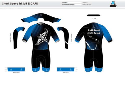 Gulf Coast Multisport Black Escape Short Sleeved Tri Suit