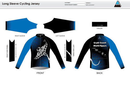 Gulf Coast Multisport Black Long Sleeve Cycling Jersey