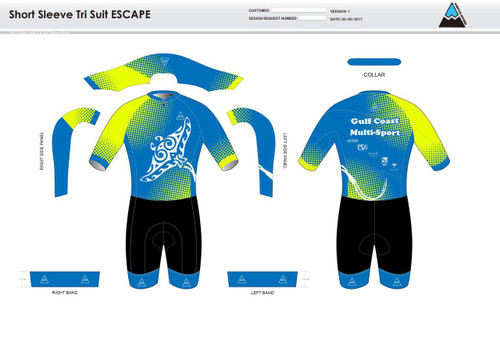 Gulf Coast Multisport Neon Escape Short Sleeve Tri Suit