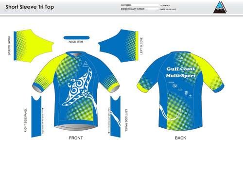 Gulf Coast Multisport Neon Short Sleeve Aero Tri Top