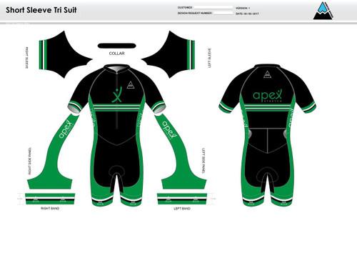 Apex Stretch Stripe Short Sleeve Tri Suit