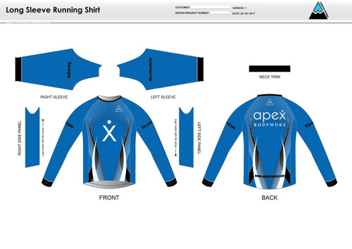 Apex Stretch Blue Long Sleeve Running Shirt