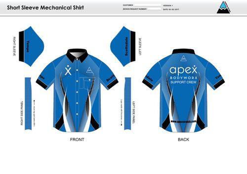 Apex Stretch Blue Adult Mechanic Shirt - UNISEX sizing