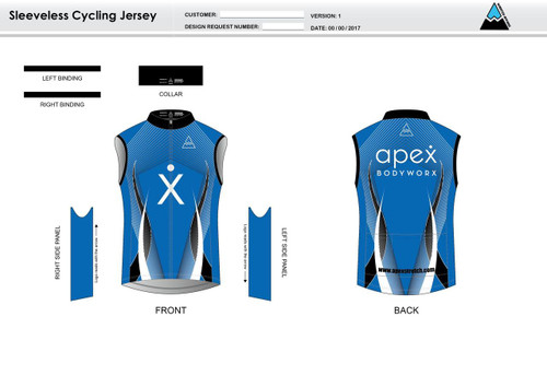 Apex Stretch Blue Sleeveless Cycling Jersey