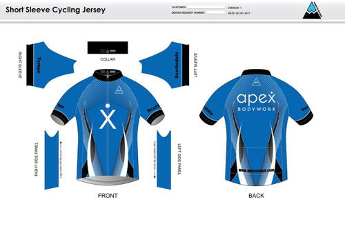 Apex Stretch Blue Short Sleeve Cycling Jersey