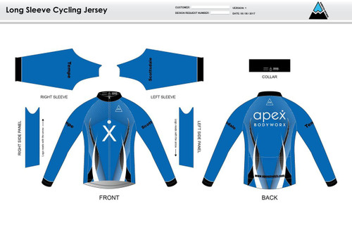 Apex Stretch Blue Long Sleeve Cycling Jersey