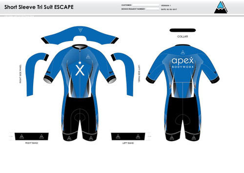 Apex Stretch Blue ESCAPE Short Sleeve Tri Suit