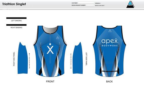 Apex Stretch Blue Youth Tri Singlet