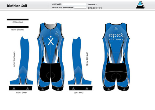 Apex Stretch Blue Youth Sleeveless Tri Suit