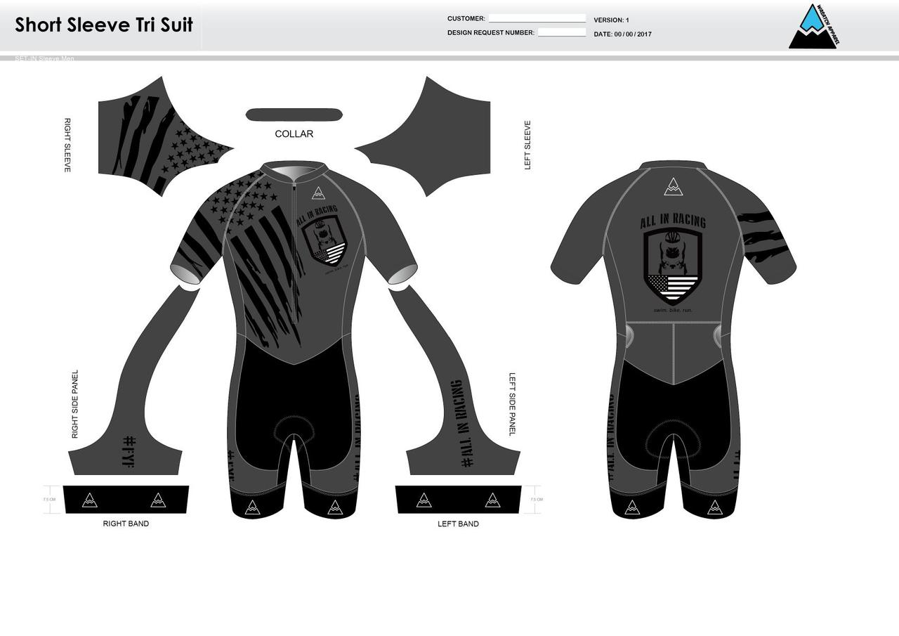 6743fdff5df754 All In Racing Grey Short Sleeve Tri Suit - Wasatch Apparel