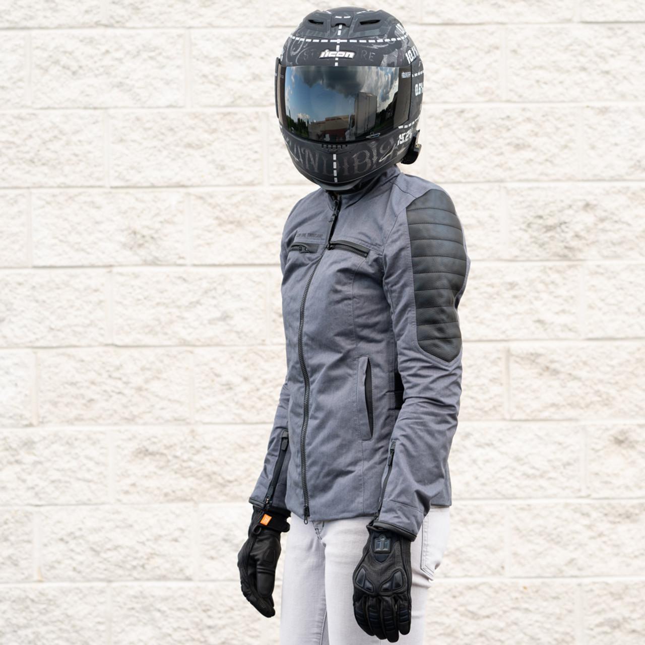 Icon 1000 Women/'s MH1000 Textile Riding Jacket Black L Large