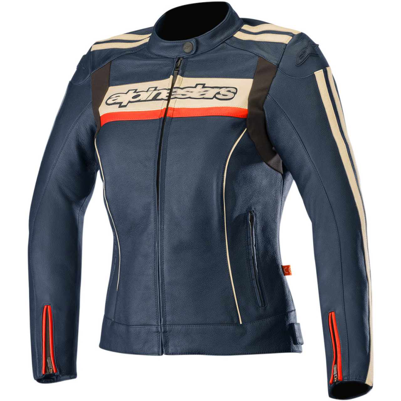 Womens blue leather motorcycle jacket