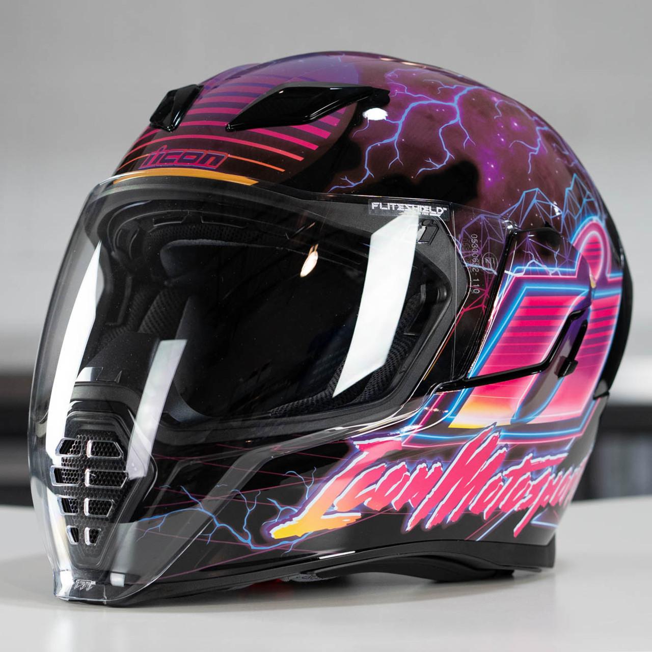 Icon Motorrad Airflite Helm Synthwave Purple 59 L Gr/ö/ße