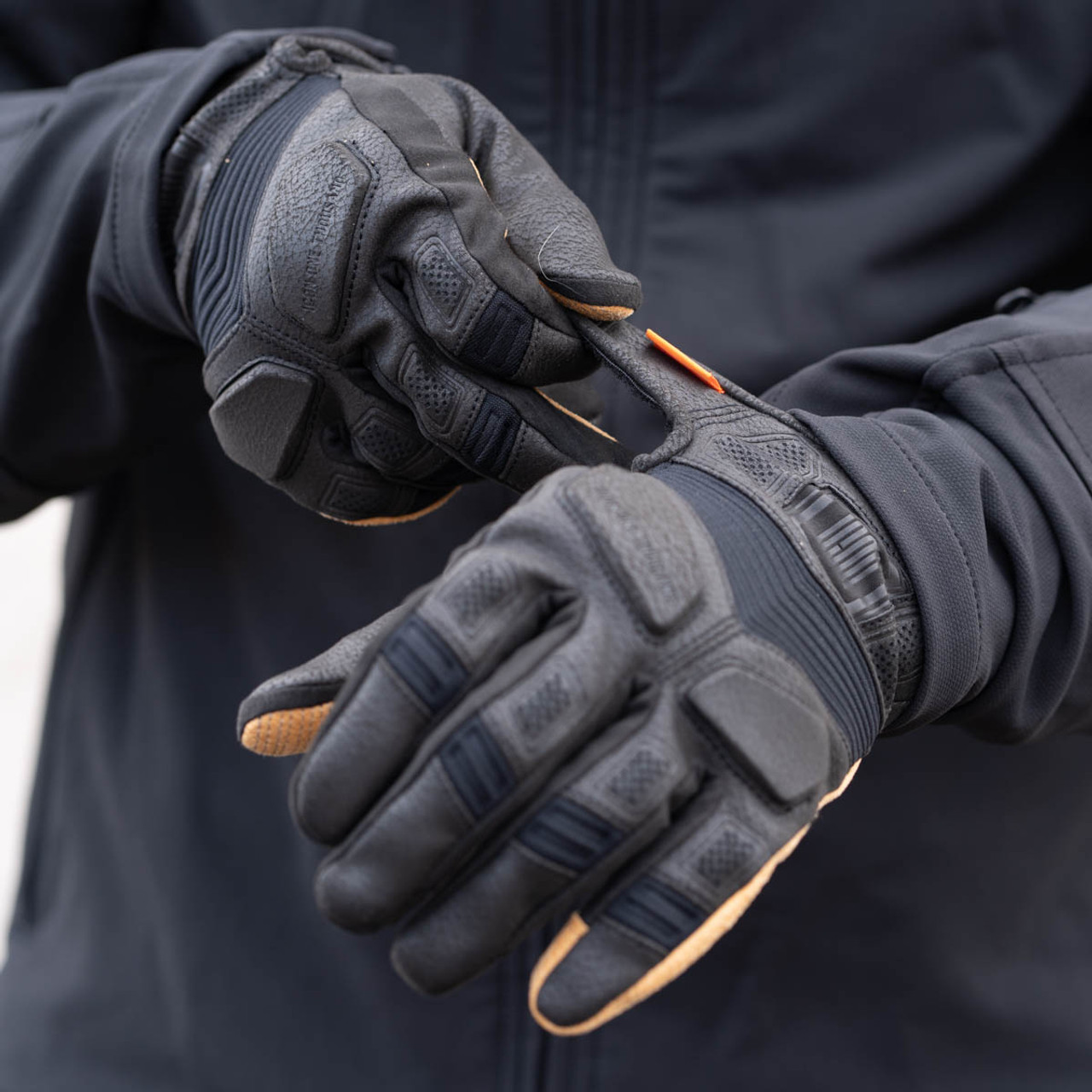 Mens Icon Black Forestall Leather Textile Motorcycle Riding Street Racing Gloves
