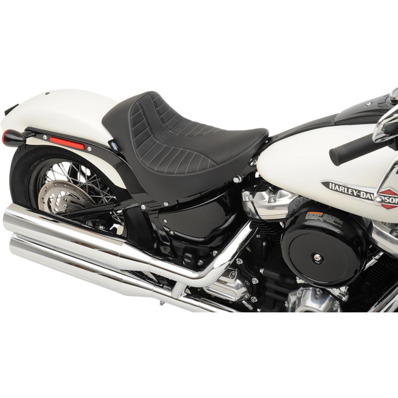 a31ecc3ec8da1 Drag Specialties EZ-On Solo Seat for 2018-2019 Harley Softail* - Scorpion  Silver Stitch