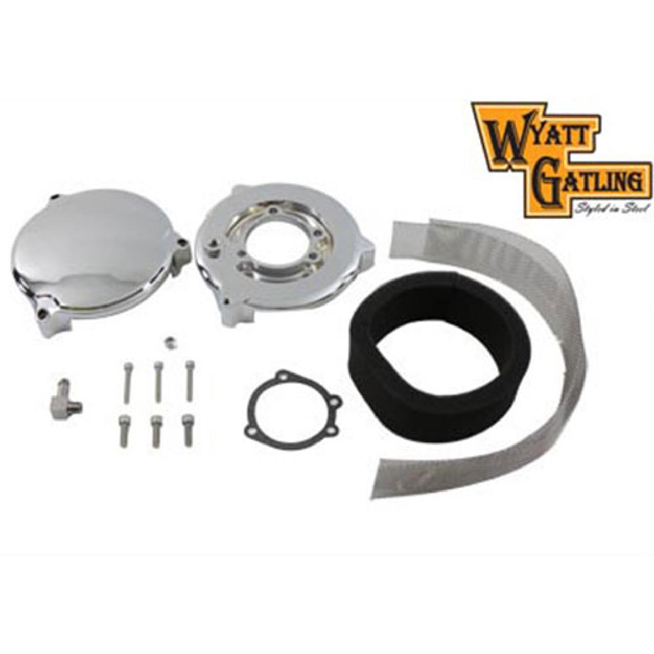 V-Twin Mfg  Chrome Round Smooth Air Cleaner for CV Carbs