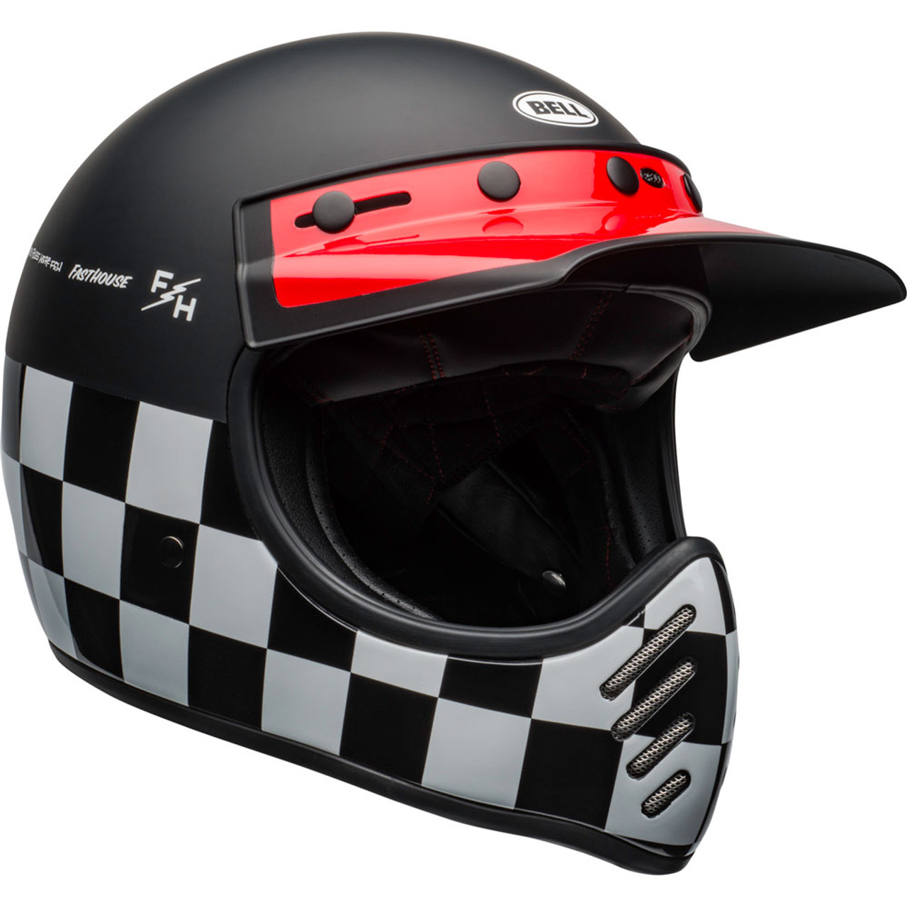 Bell Moto 3 >> Bell Moto 3 Helmet Fasthouse Checkers Matte Gloss Black White Red