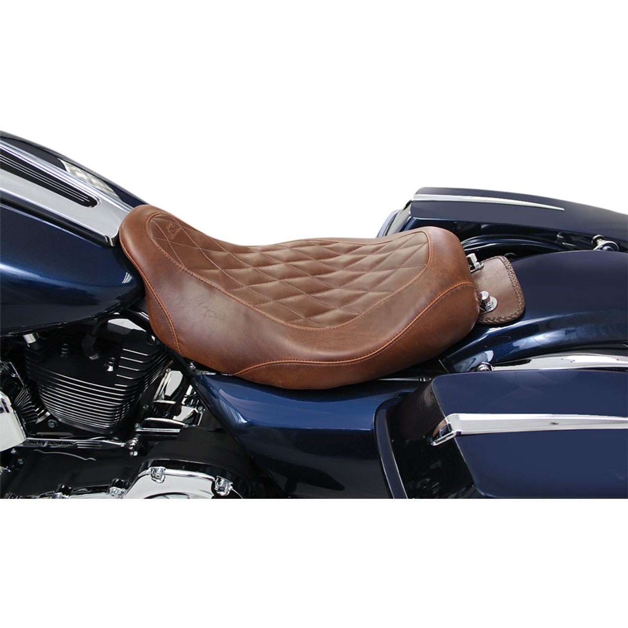 Distressed Brown Mustang 76730 Wide Tripper Solo Motorcycle Seat with Diamond Stitching for Harley-Davidson Sportster 2004-20