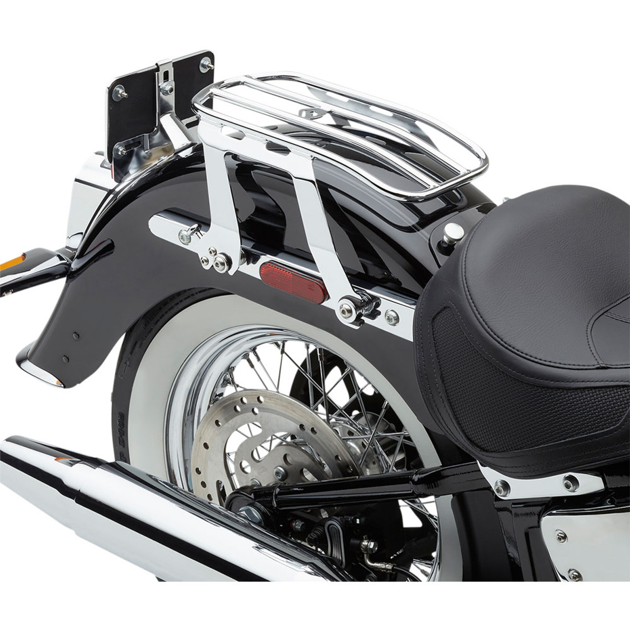 WSays Gloss Black Solo Seat Luggage Mount Rack Compatible with 2018-later Harley Deluxe FLDE Heritage FLHC FLHCS