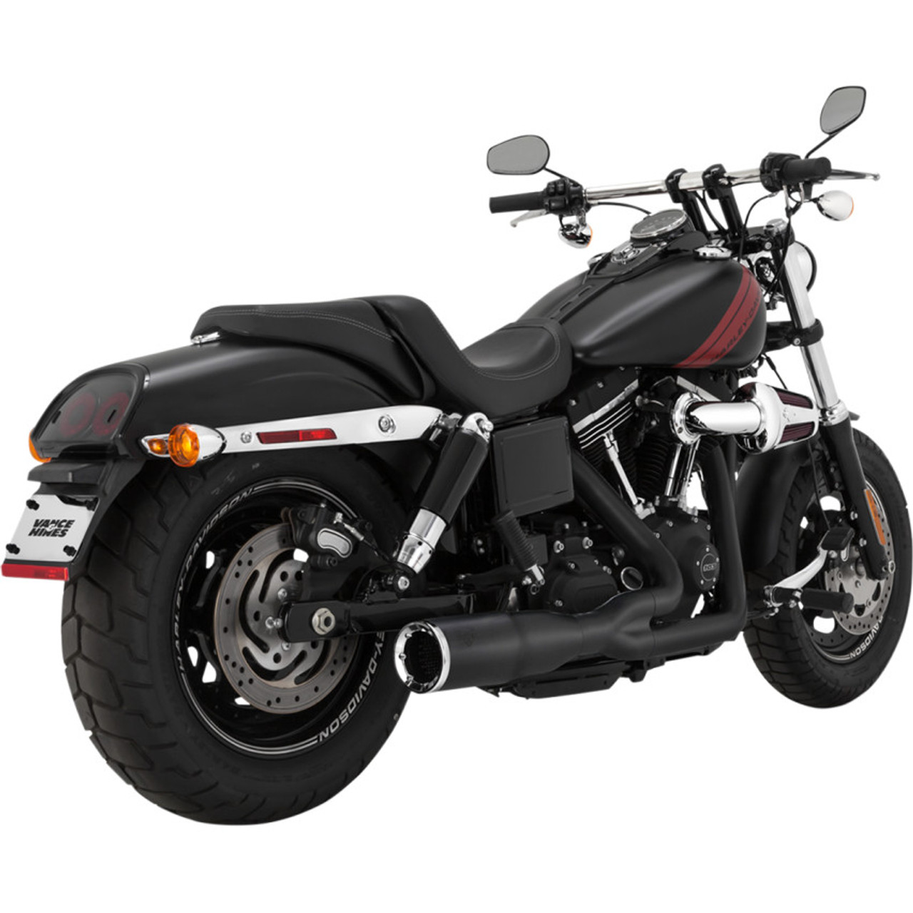 Vance Hines Hi Output 2 Into 1 Short Exhaust For 2006 2017 Harley Dyna Black Get Lowered Cycles