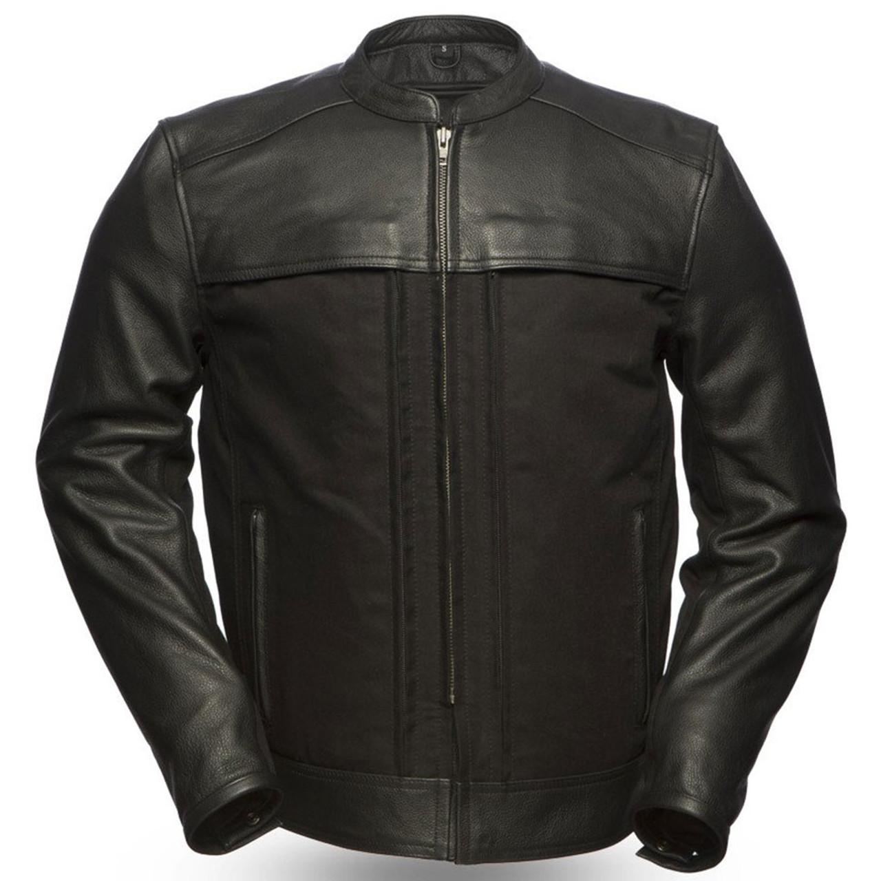 First Mfg Men Milestone Leather Motorcycle Riding Shirt Black S-5XL Free Ship
