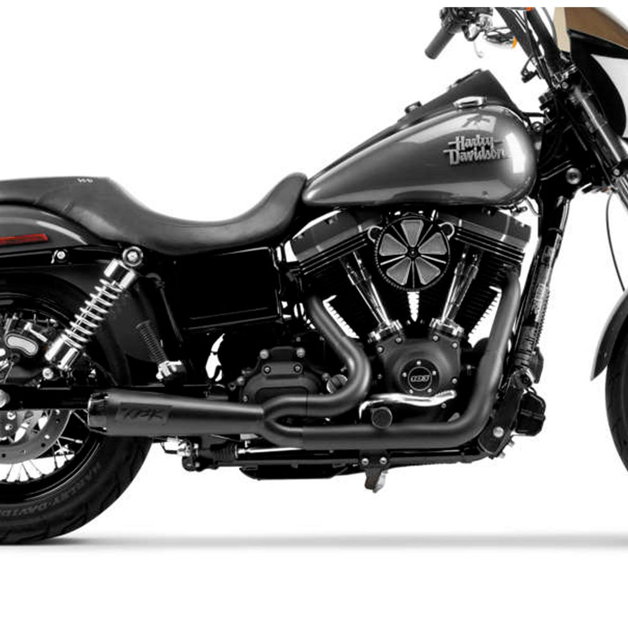 Two Brothers Racing 2-Into-1 Comp-S Exhaust for 2006-2017 Harley Dyna -  Black with Carbon Fiber Tip