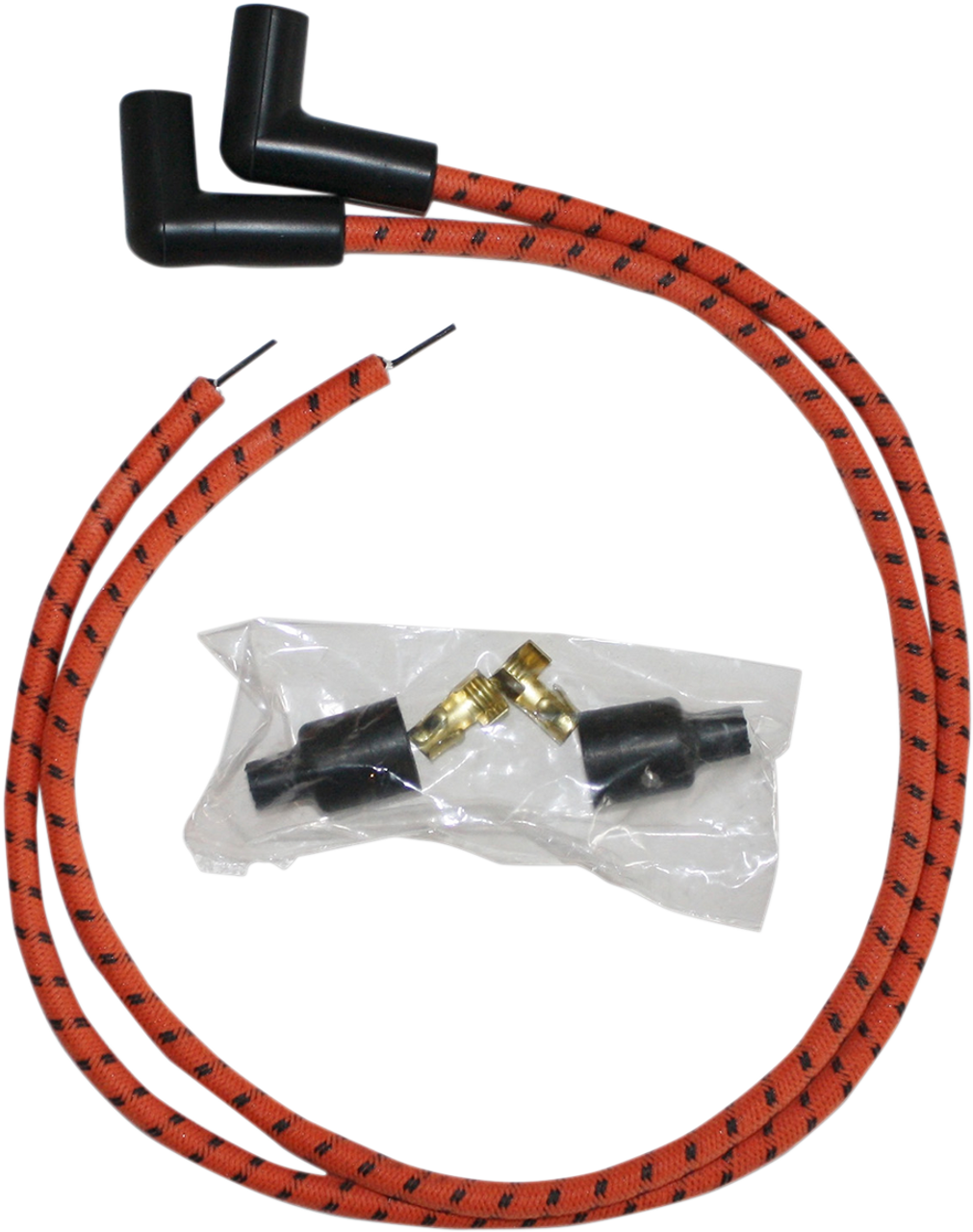 Sumax 8mm Universal Spark Plug Wire Kit for Harley - Orange with Black on