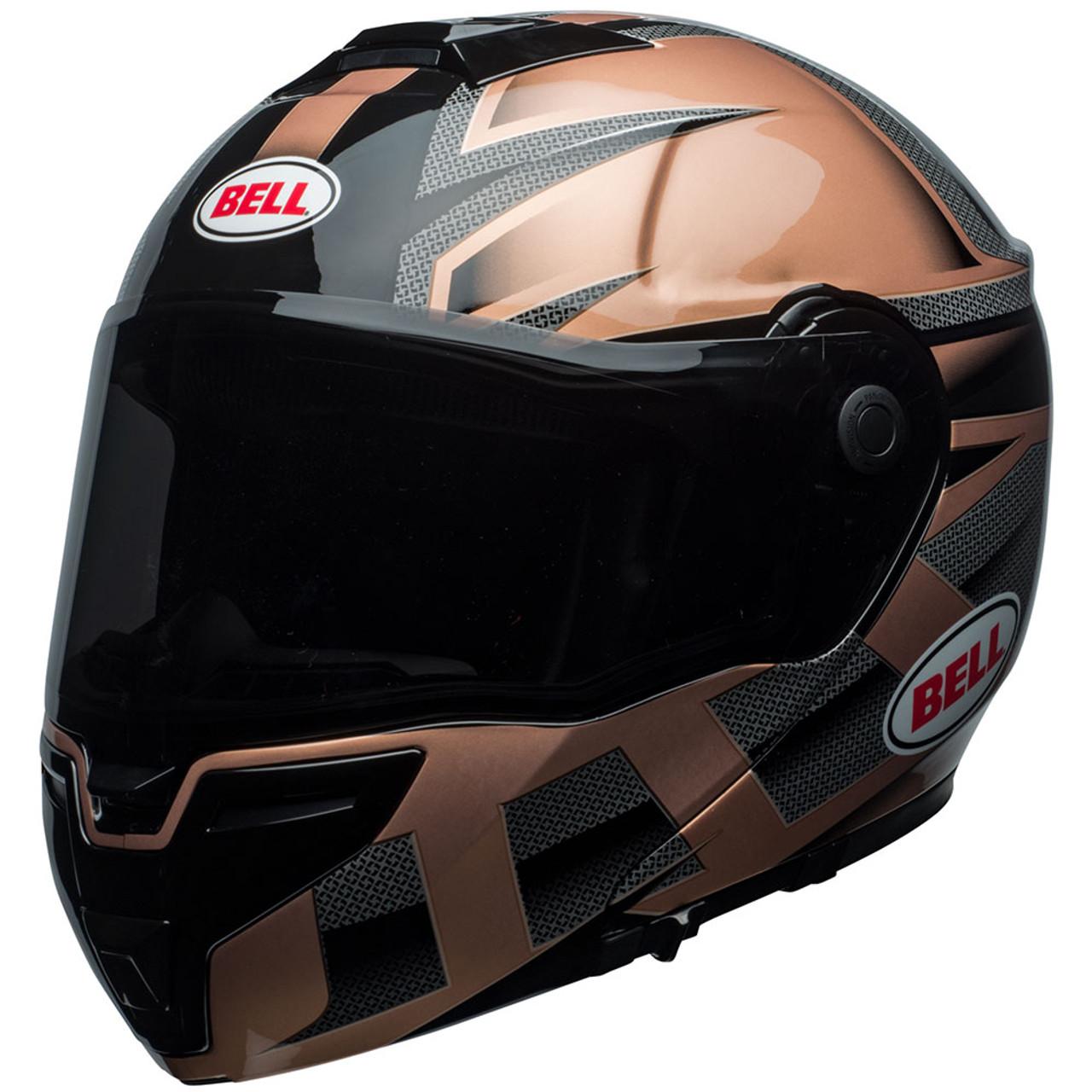 Bell Srt Modular Motorcycle Helmet Gloss Copper Black Predator