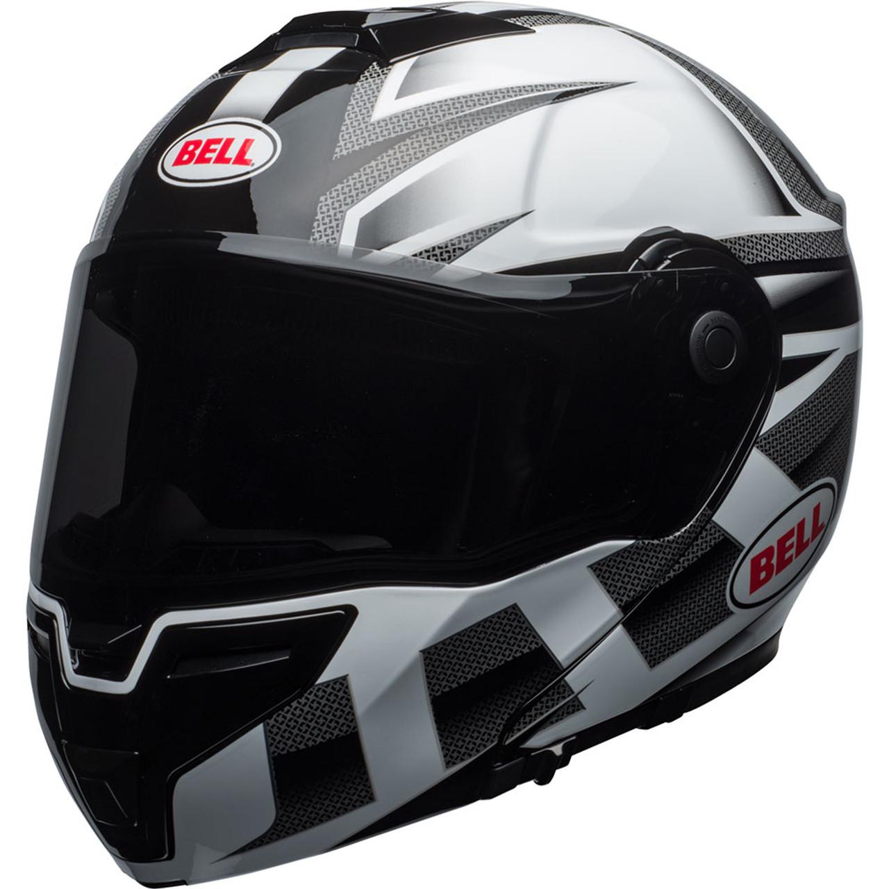 Bell Srt Modular Motorcycle Helmet Gloss White Black Predator
