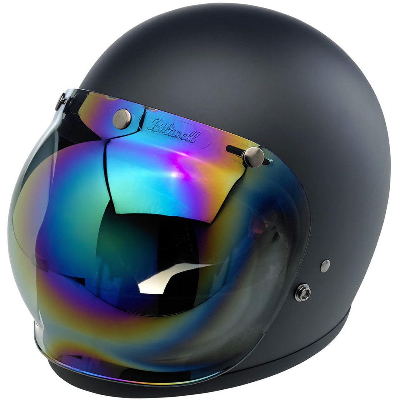Biltwell Anti-Fog Bubble 3-Snap Bubble Face Shield Rainbow Mirror