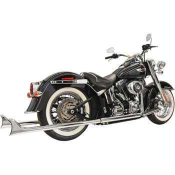 "Bassani True Duals Exhaust with 39"" Fishtail Mufflers for 1989-2017 Harley Softail - Chrome"
