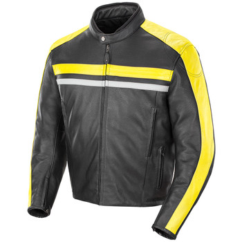 Joe Rocket Old School 2.0 Leather Jacket - Black/Yellow