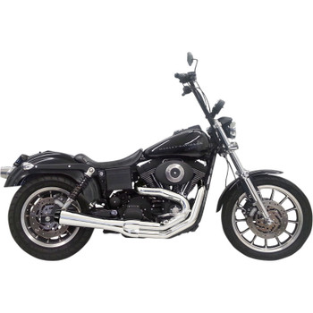 Bassani Road Rage 2 Short Exhaust for 1991-2005 Harley Dyna - Chrome