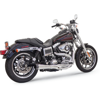 Bassani Road Rage 2 Exhaust for Tall Shocks on 1991-2017 Harley Dyna - Chrome