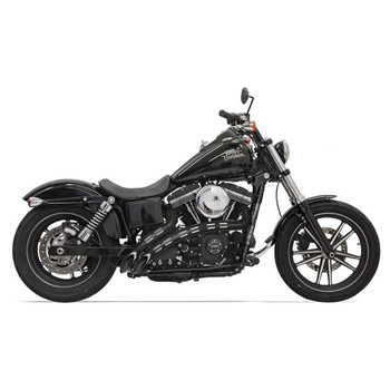 Bassani Radial Sweepers Exhaust for Harley - Chrome with Black Slotted Shields