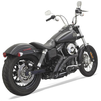 Bassani Radial Sweepers Exhaust for Harley - Black with Black Slotted Shields