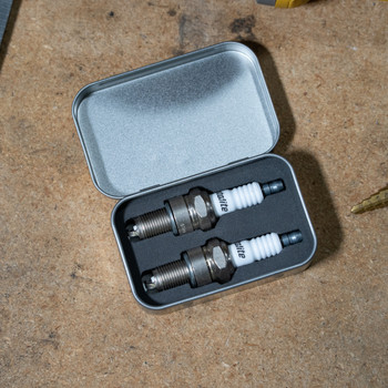 Custom Destruction Spark Plug Tin Caddy - Harley Shovelhead and Evo