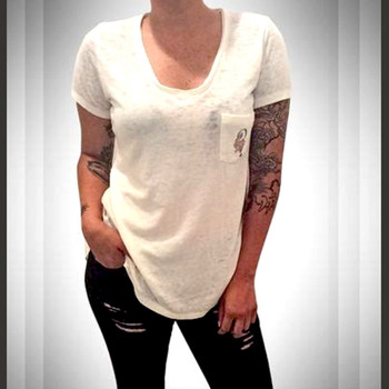 Indian Larry Ladies V-Neck Pocket Tee - White