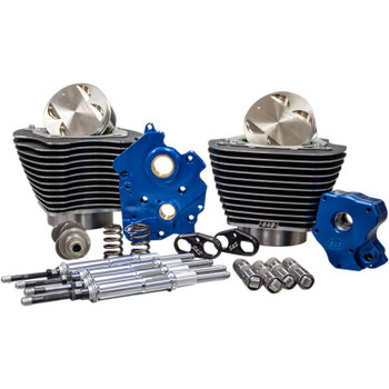 "S&S 124"" Power Package Kit Chain Drive Oil Cooled for 107"" Harley M8 - Highlighted Fins and Chrome Pushrod Tubes"