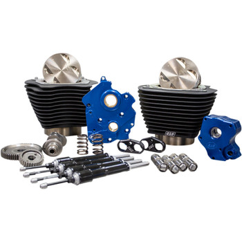 "S&S 124"" Power Package Kit Gear Drive Oil Cooled for 107"" Harley M8 - Black Fins and Black Pushrod Tubes"